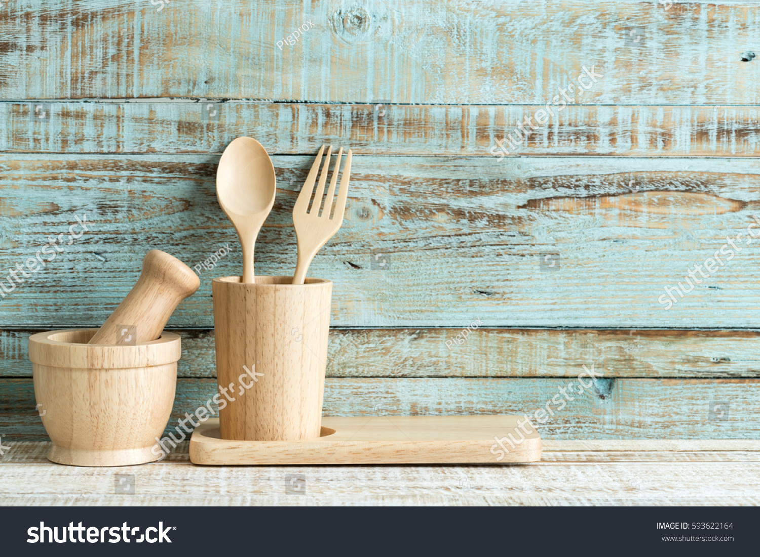 Kitchen Cooking Utensils Wood Storage On Stock Photo (Edit Now ...