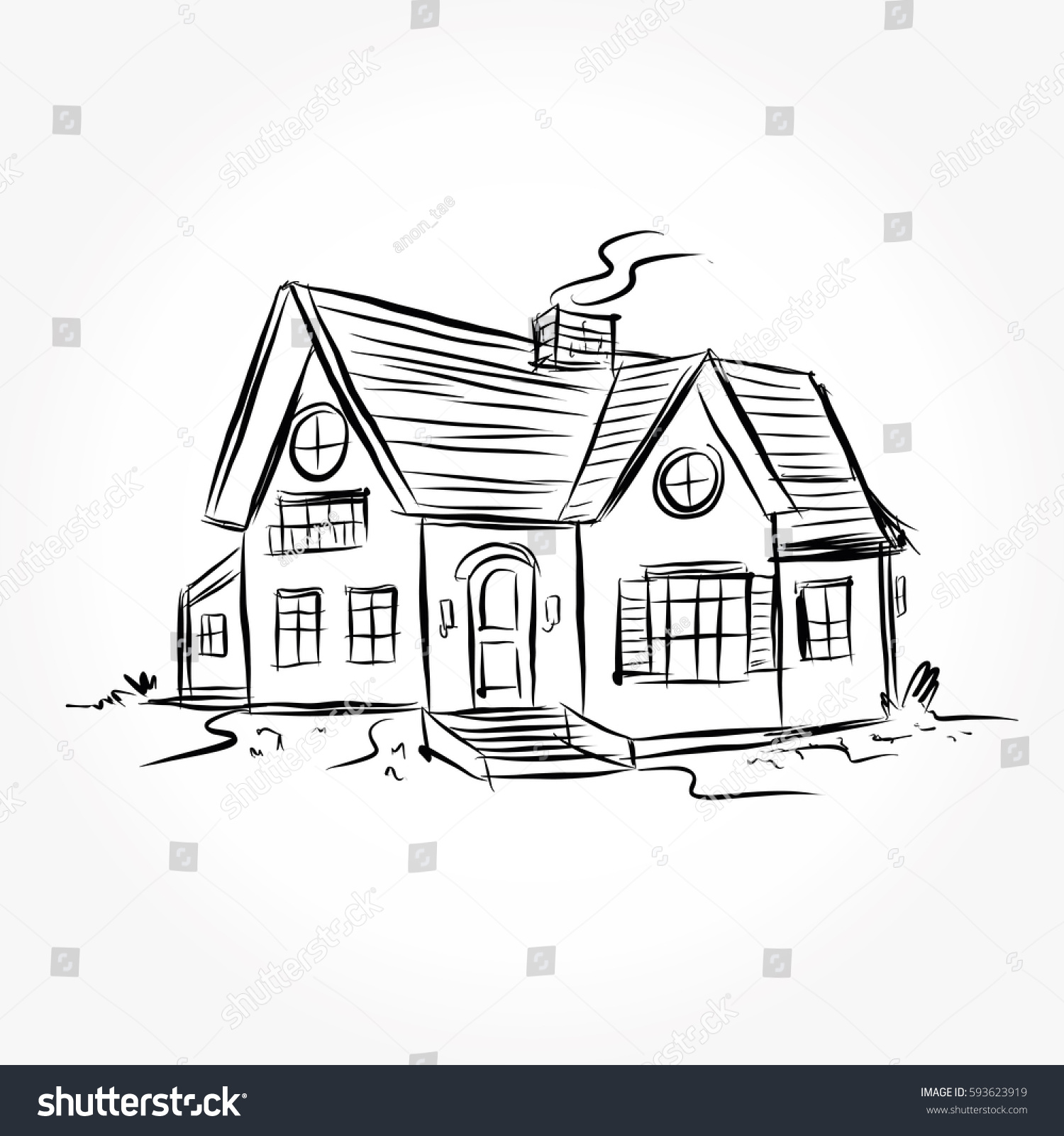 Sketch house architecture drawing free hand stock vector for Sketch online free