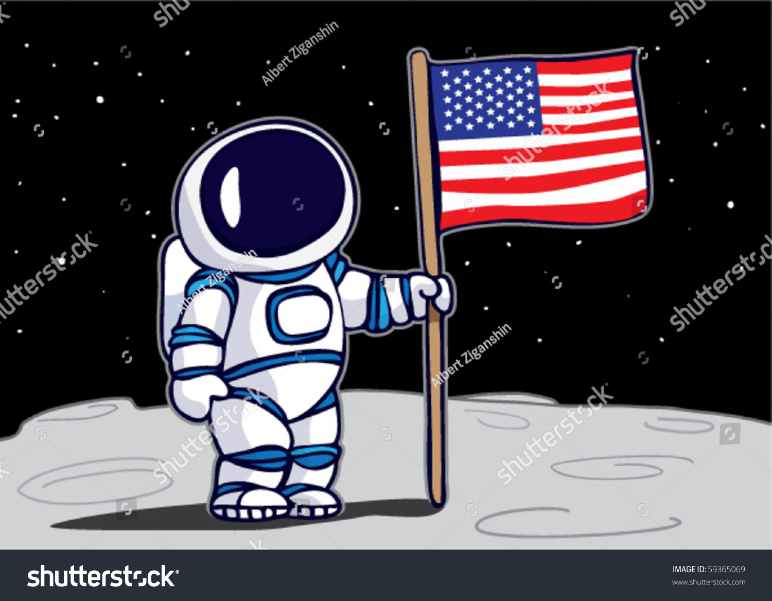 astronaut planting flag on moon stock vector 59365069