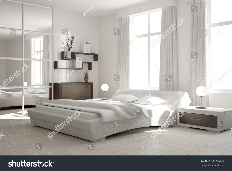 White modern bedroom scandinavian interior design stock - Scandinavian interior design bedroom ...