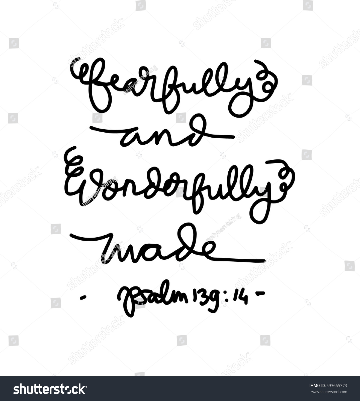 Fearfully Wonderfully Made Bible Verse Modern Stock Vector Royalty