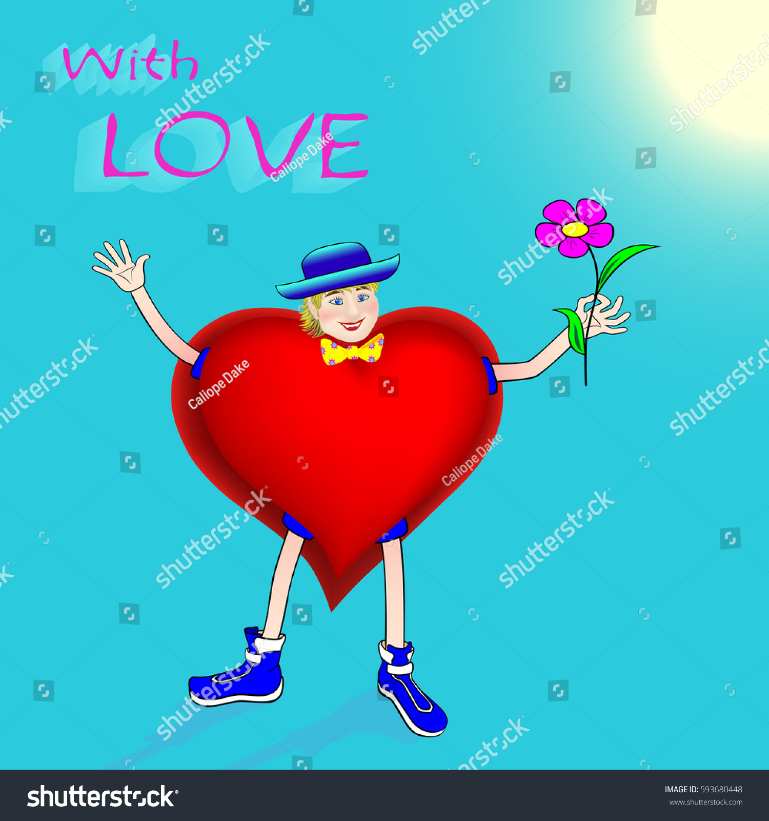 Funny Greeting Card Love Animated Man Stock Vector Royalty Free