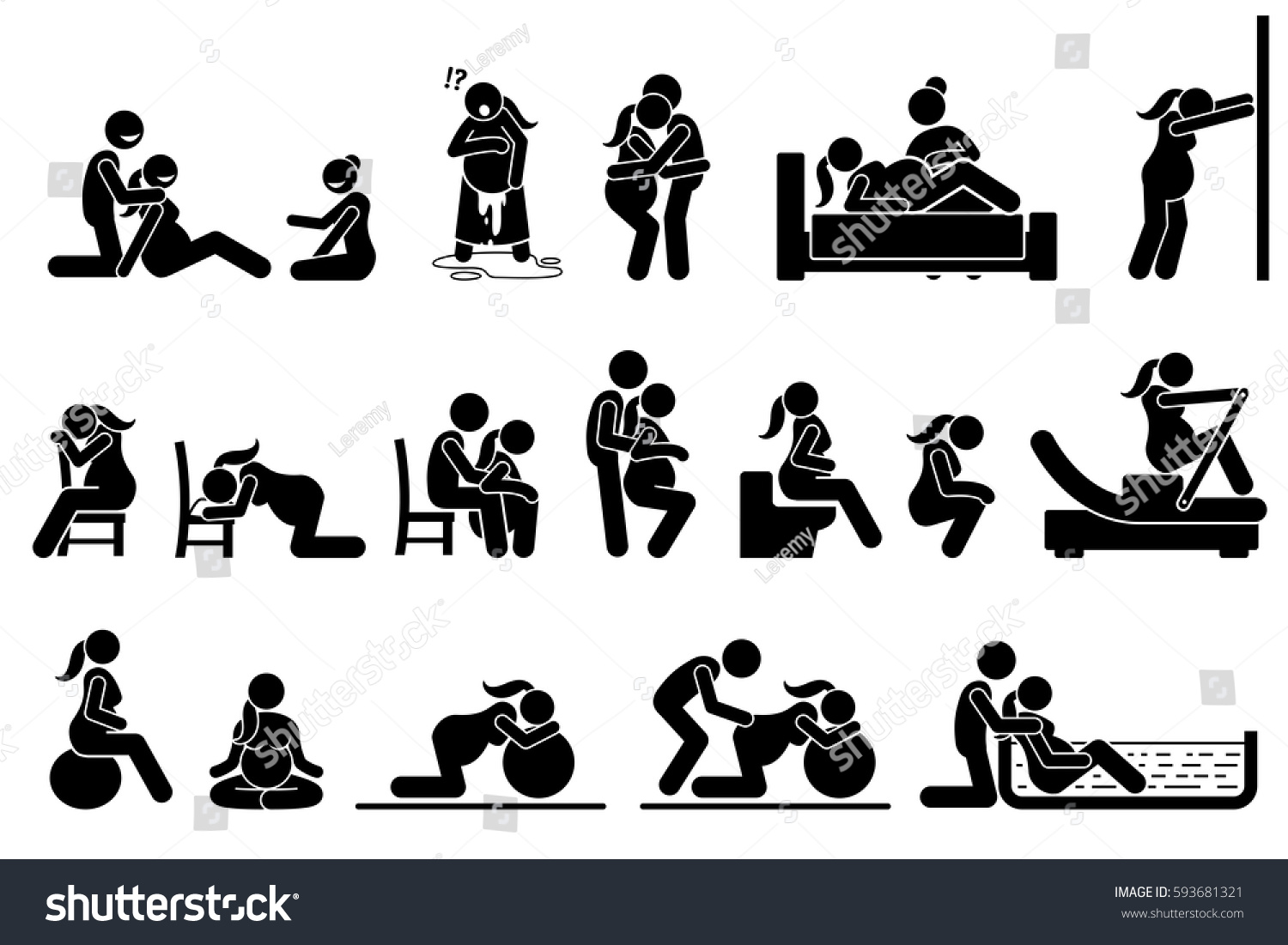 Childbirth Labor Positions Postures Home Natural Stock ...