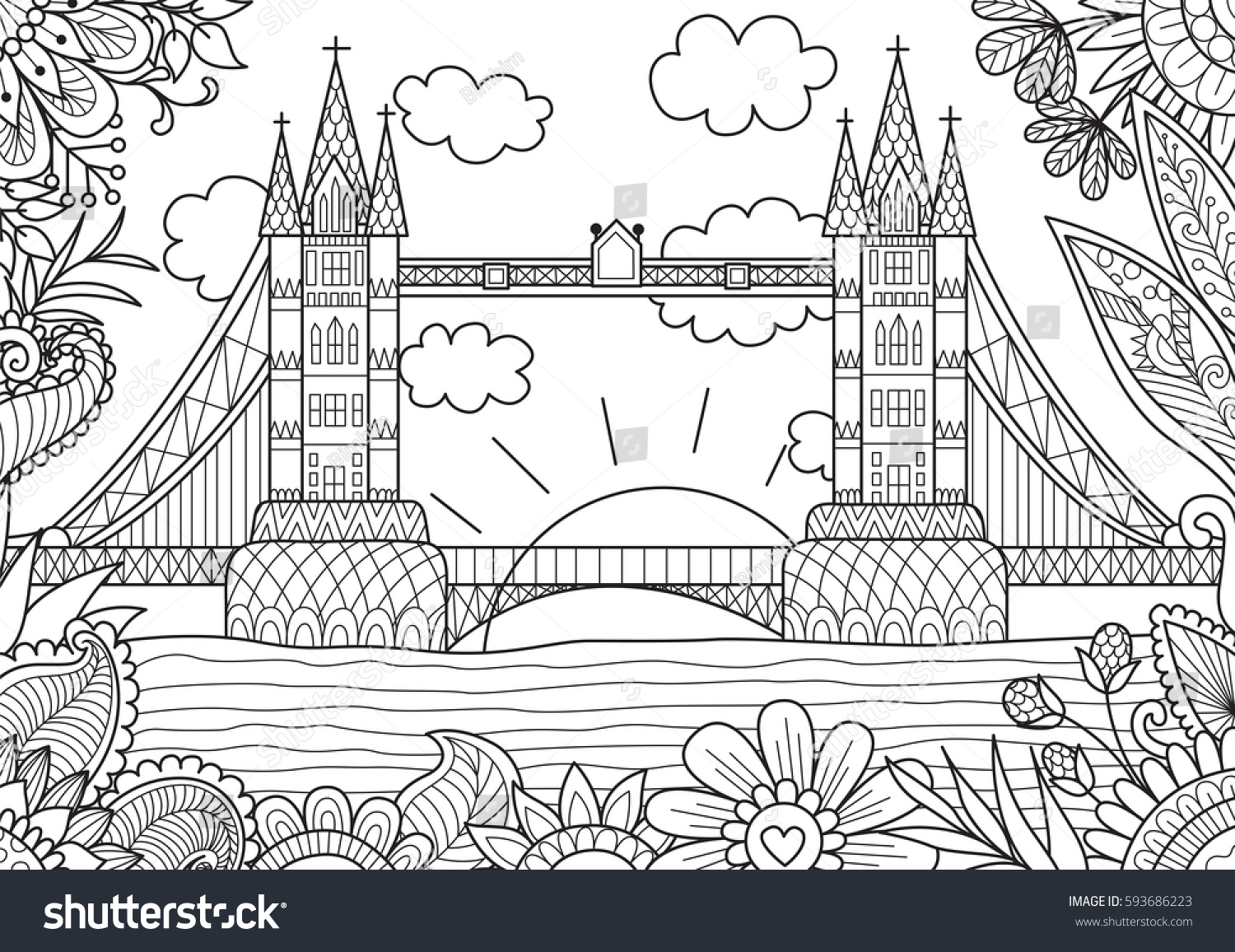 Spring In London Zendoodle Design For Adult Coloring Book Page Stock Vector