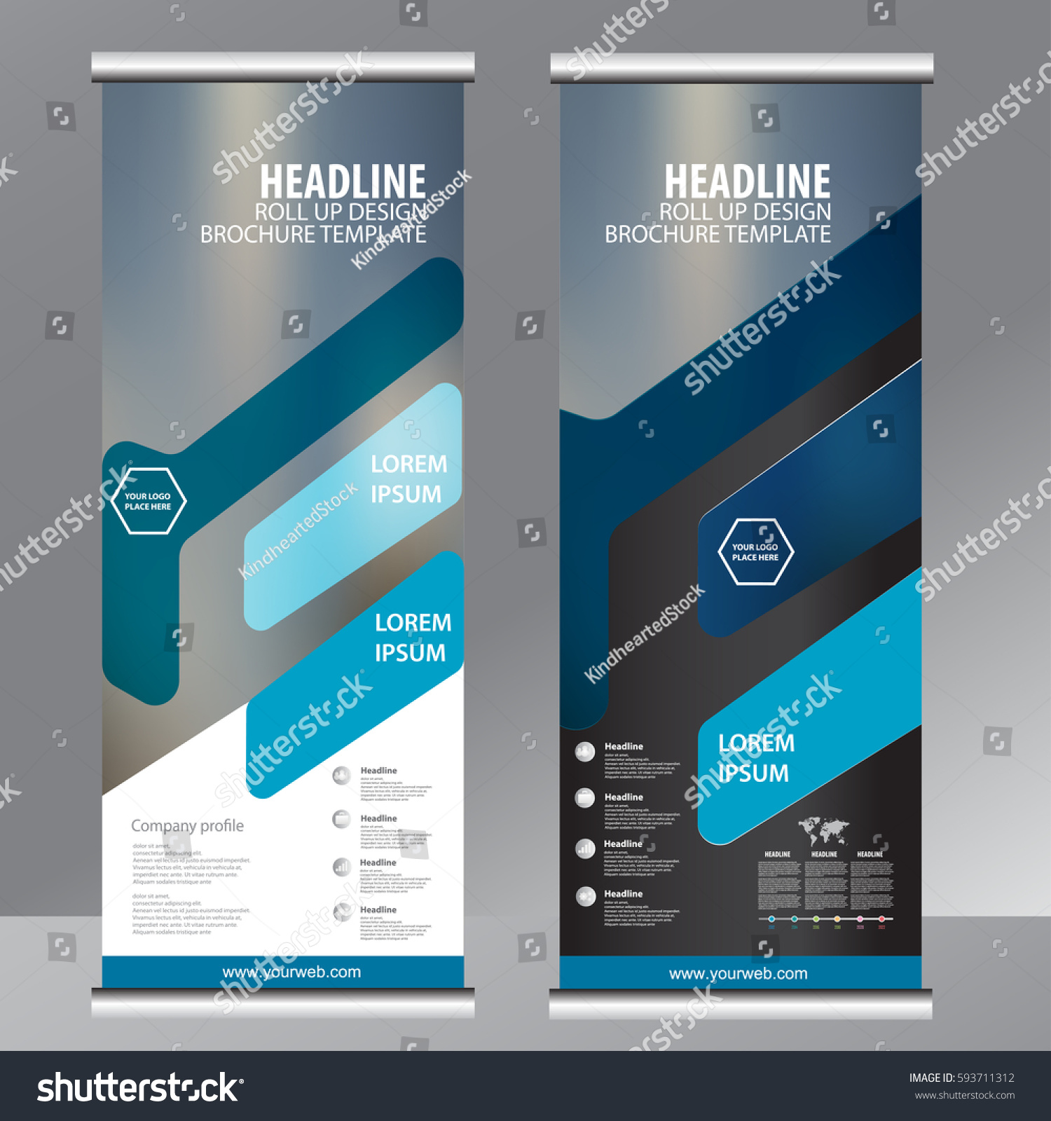 Blue Roll Business Brochure Flyer Banner Stock Vector Royalty Free 593711312