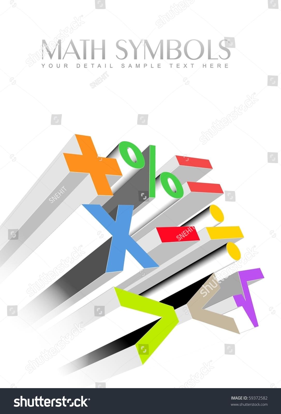 Illustration 3 D Colorful Math Symbols Stock Illustration Royalty