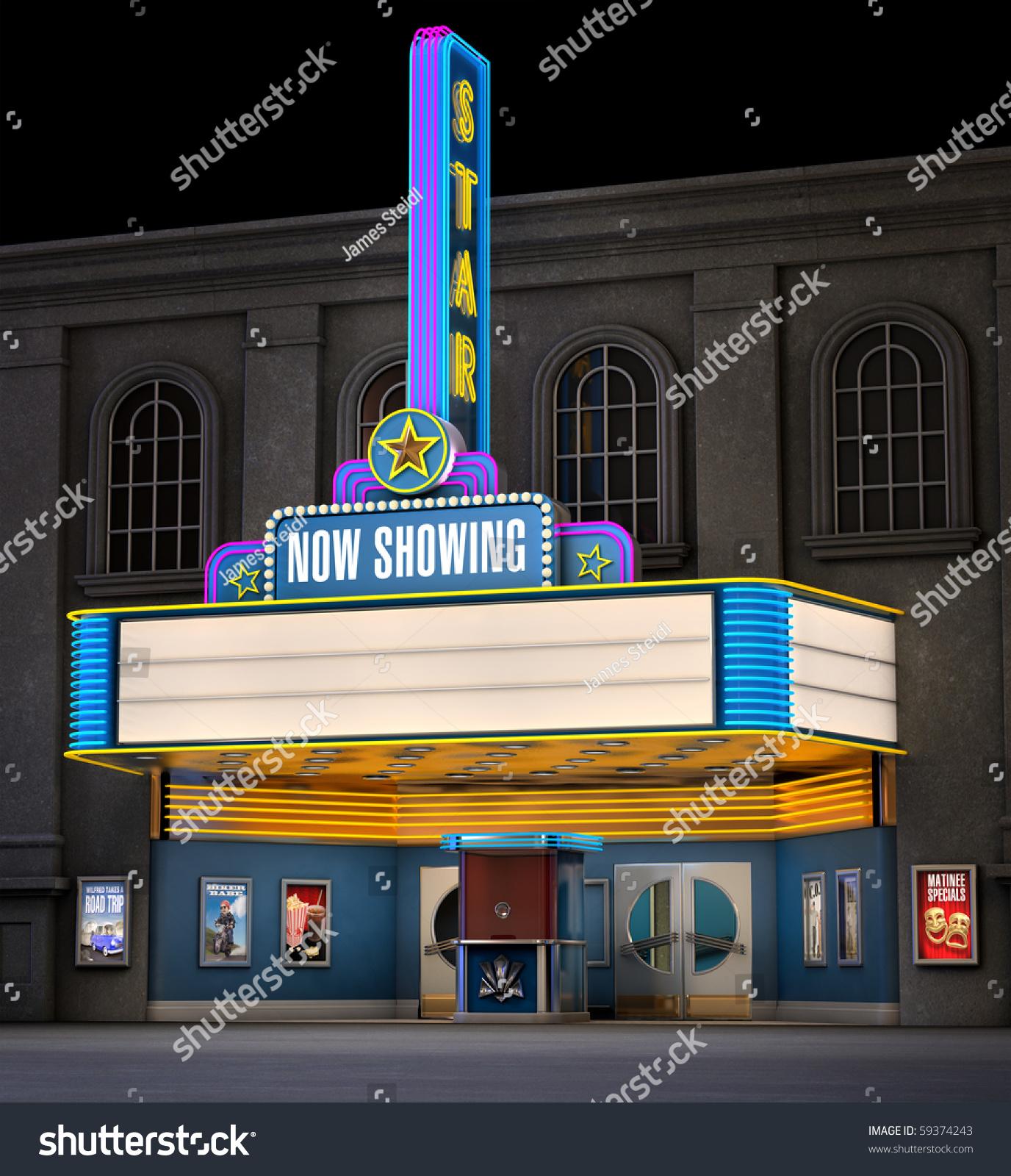 Exterior Night Shot Retro Illuminated Neon Stock ...