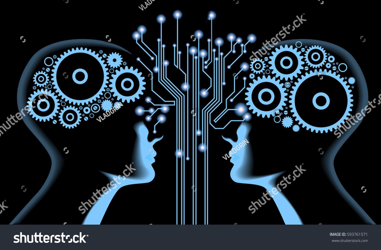 Future Technology Cyber Concept Silhouette Mans Stock ...  Future Technolo...