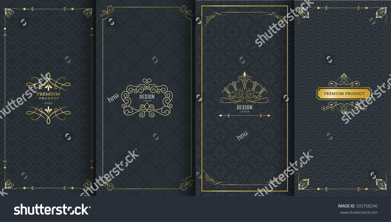 Collection of design elements, labels,icon and frames for packaging and design of luxury products.Made with golden foil Isolated on black background. vector illustration