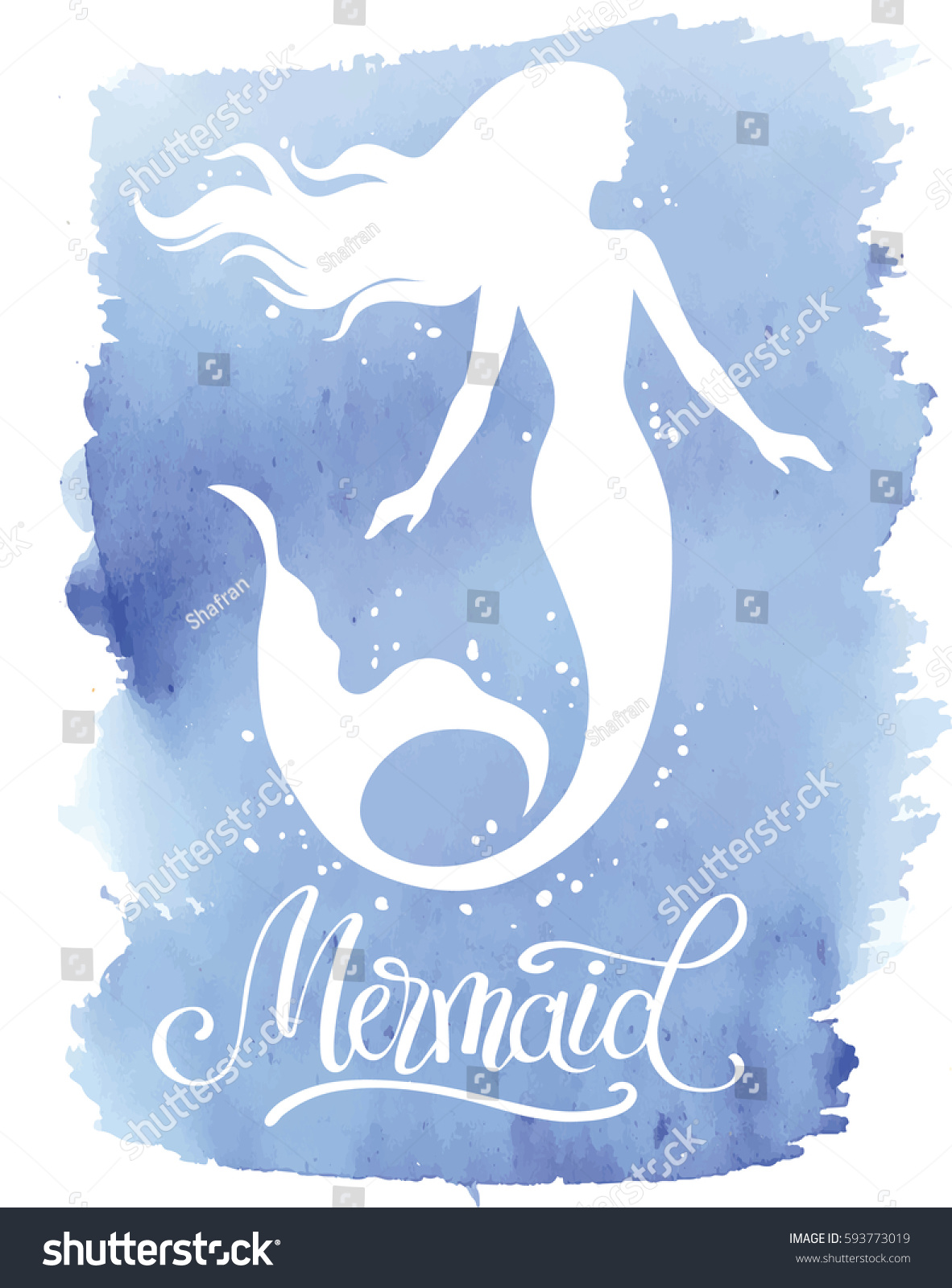 Hand painted mermaid watercolor vector silhouette stock vector - Mermaid Hand Drawn Vector Silhouette Illustration On Watercolor Background