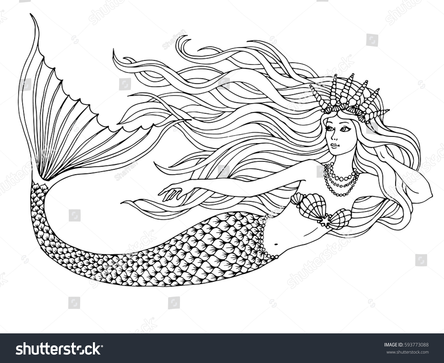 Hand painted mermaid watercolor vector silhouette stock vector - Mermaid Swimming Undersea Hand Drawn Linen Vector Illustration On A White Background For Coloring Book