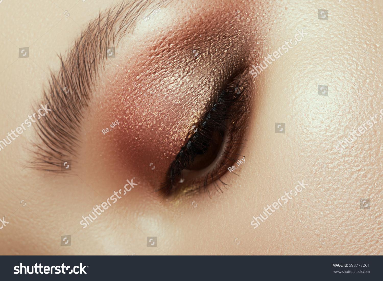 Close Blue Woman Eye Beautiful Brown Stock Photo Edit Now