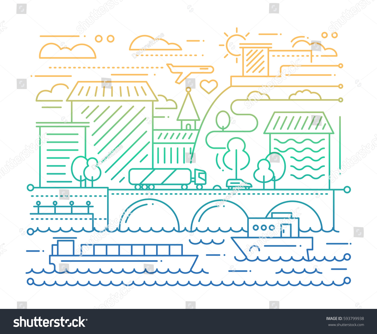 City Life Vector Modern Simple Line Stock Vector (Royalty Free ...