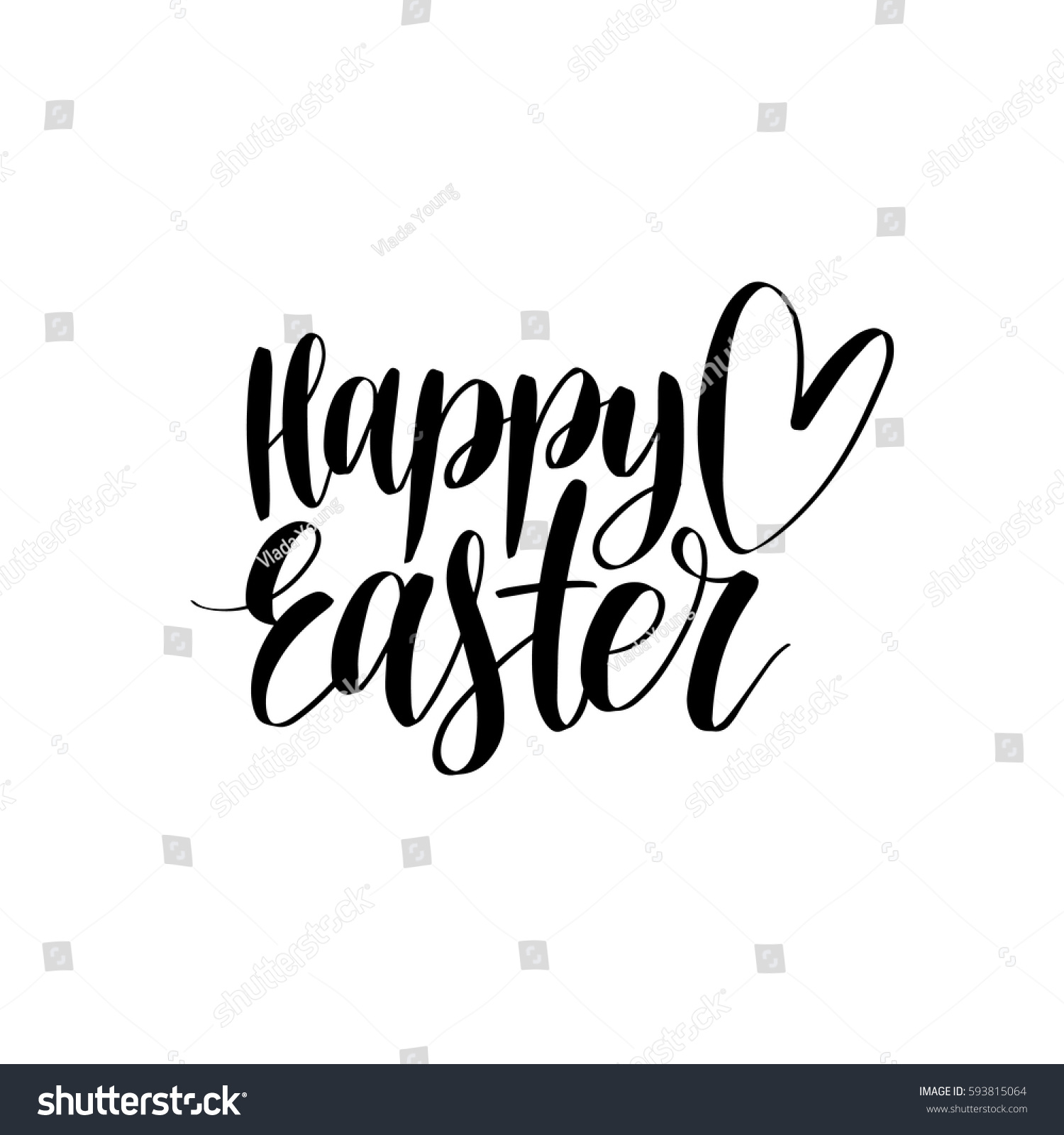 Vector happy easter calligraphy on white stock