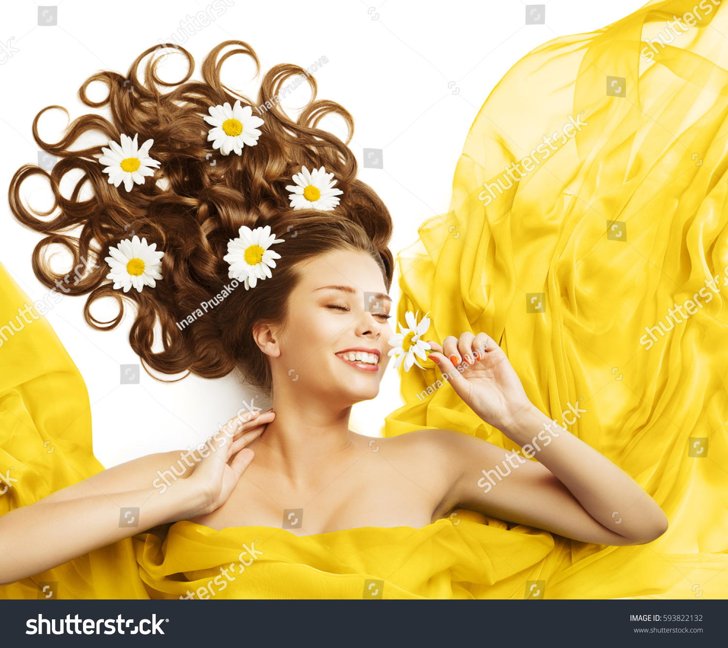Woman Flowers Hair Beauty Model Smelling Stock Photo Edit Now