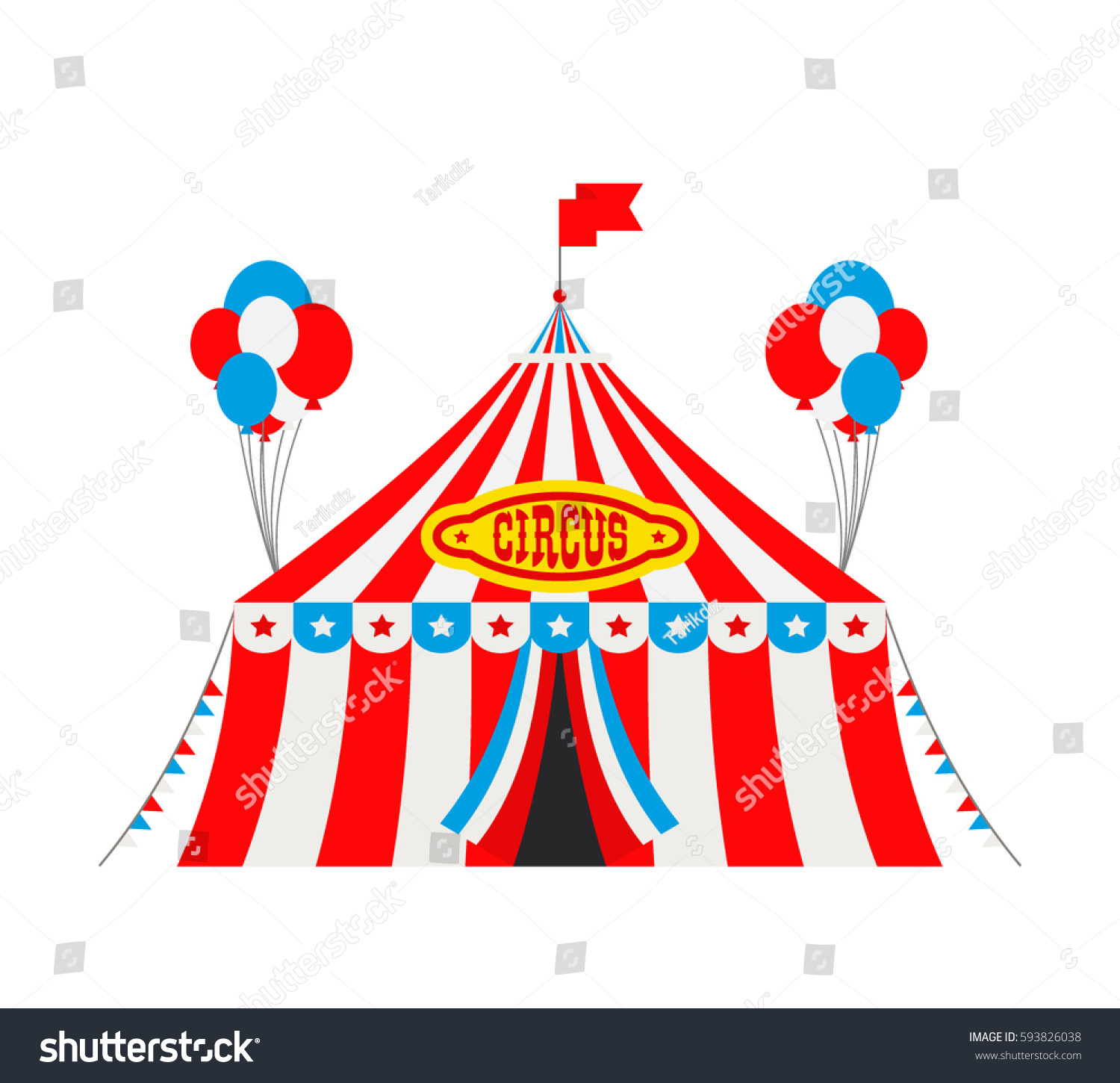 circus tent with flags and balloons on white background  sc 1 st  Shutterstock & Circus Tent Flags Balloons On White Stock Vector 593826038 ...