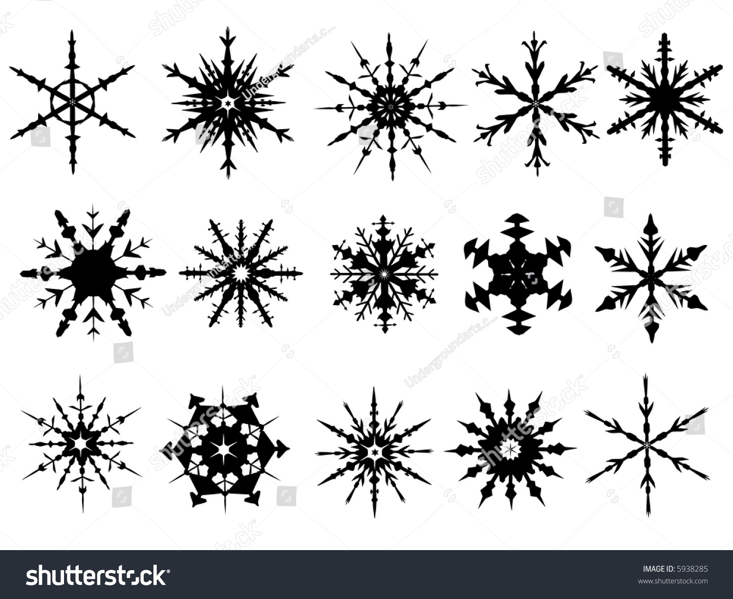 Snowflake Elements 3 4 Snowflakes Grouped Stock Vector