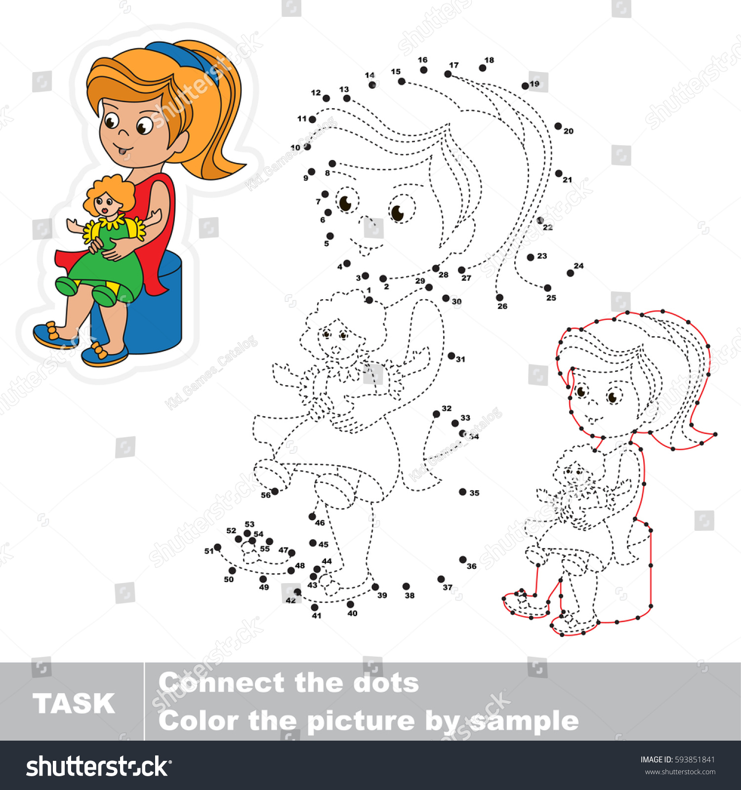 playing her toy doll dot stock vector 593851841 shutterstock