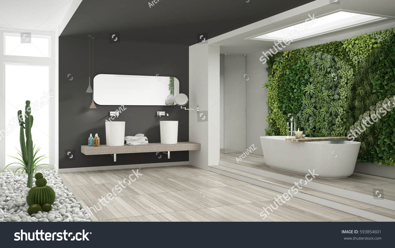 Minimalist White Gray Bathroom Vertical Succulent Stock