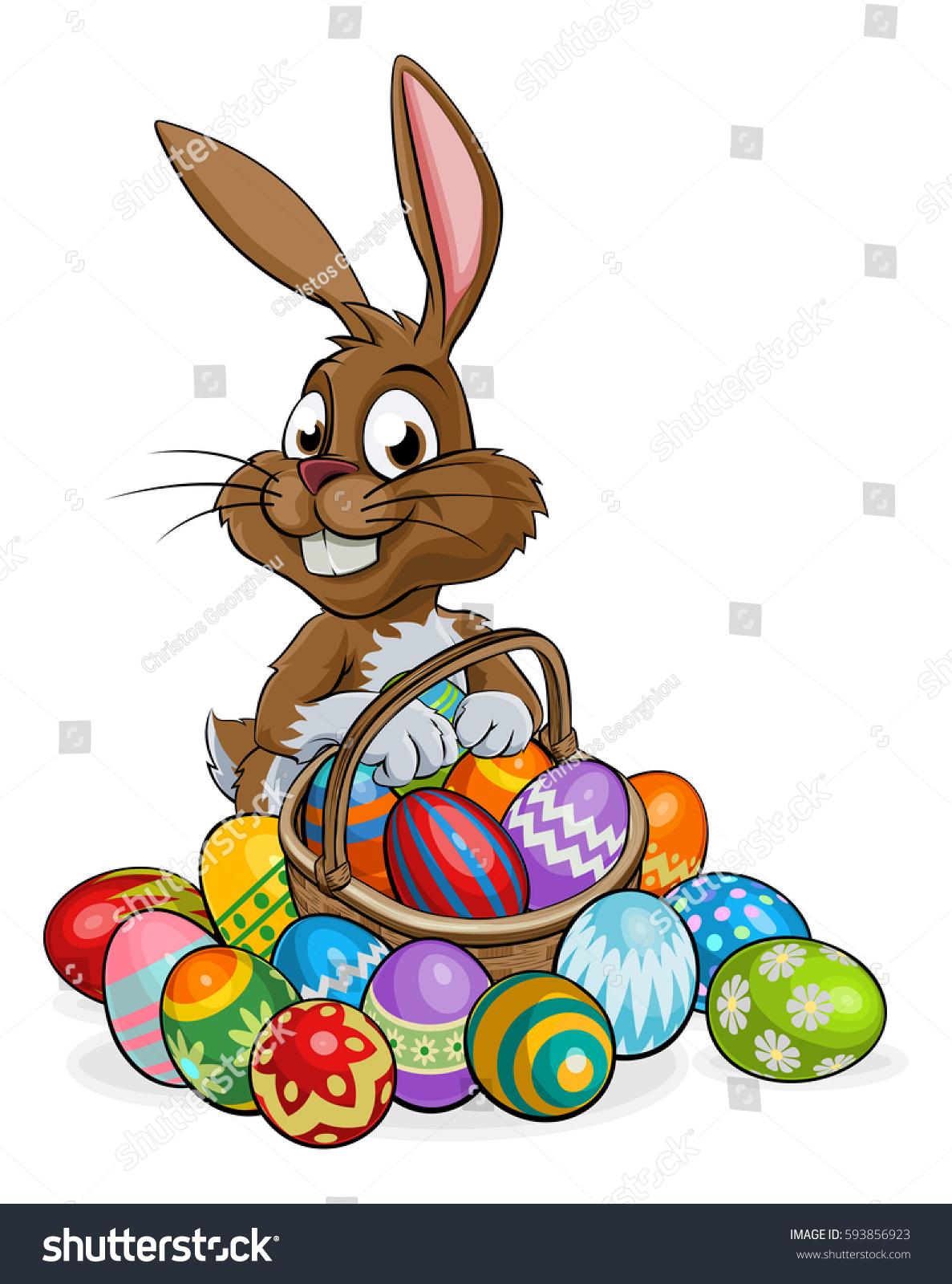 Cartoon Easter Bunny Rabbit Holding Easter Stock