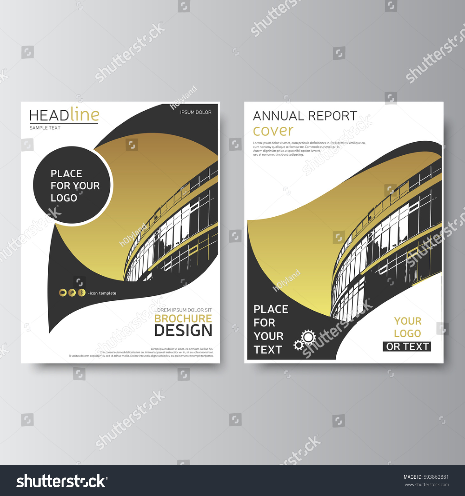 Gold annual report cover modern brochure stock vector royalty free gold annual report cover modern brochure design business flyer corporate identity leaflet template maxwellsz
