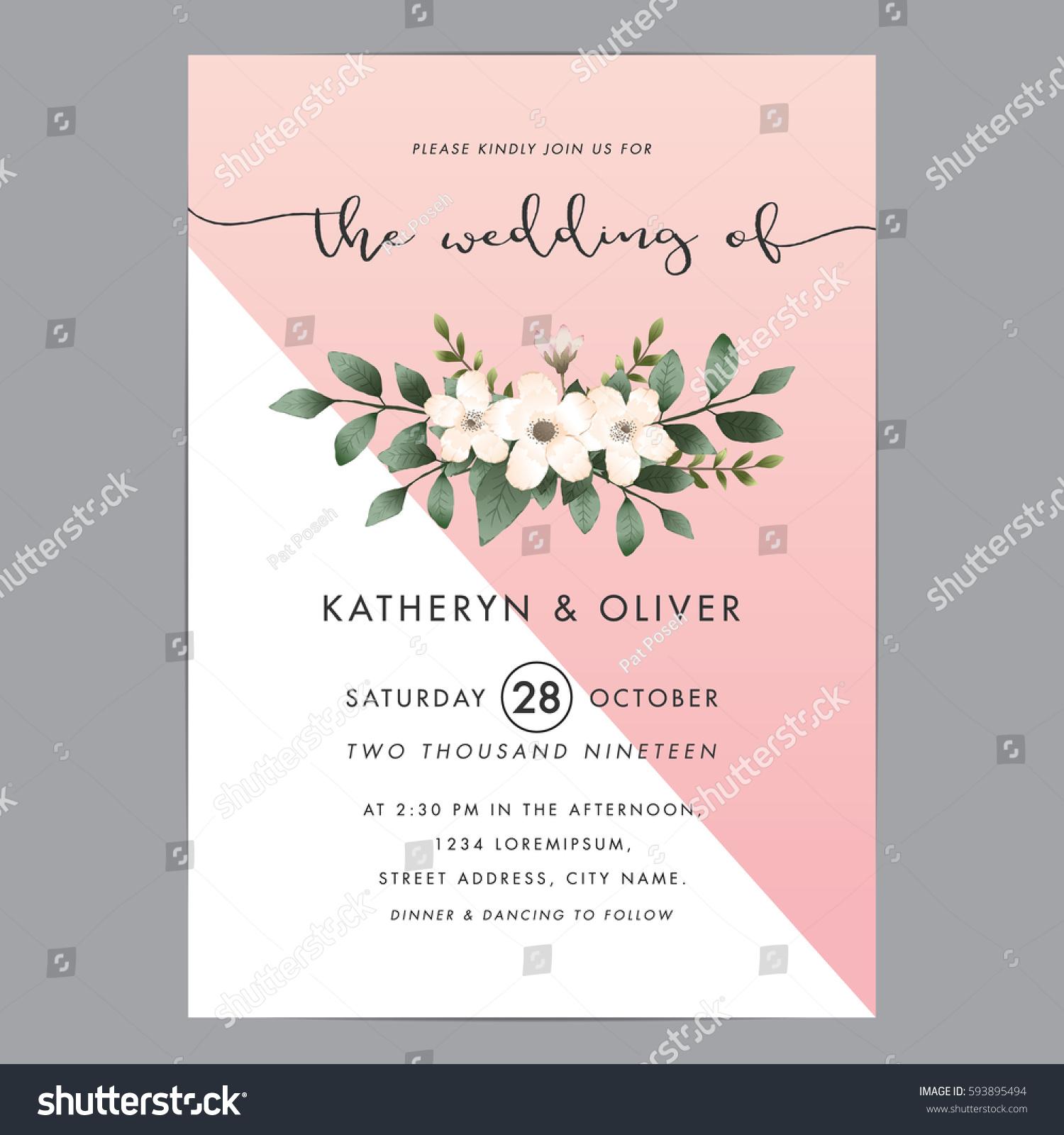 Modern clean wedding invitation card template stock photo photo modern and clean wedding invitation card template with bouquet flower vector illustration stopboris Images