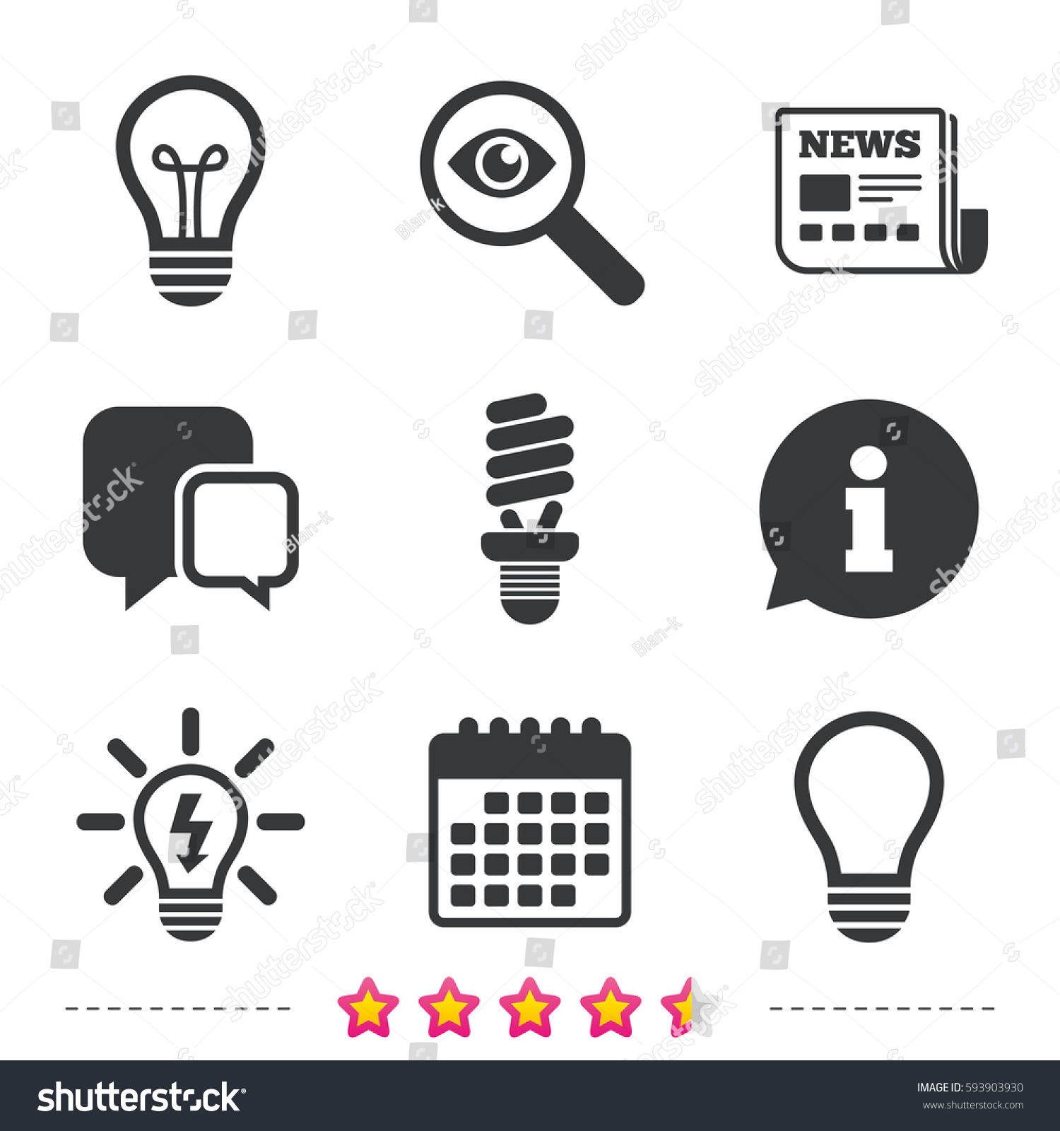 Light Lamp Icons Fluorescent Lamp Bulb Stock Photo (Photo, Vector ...