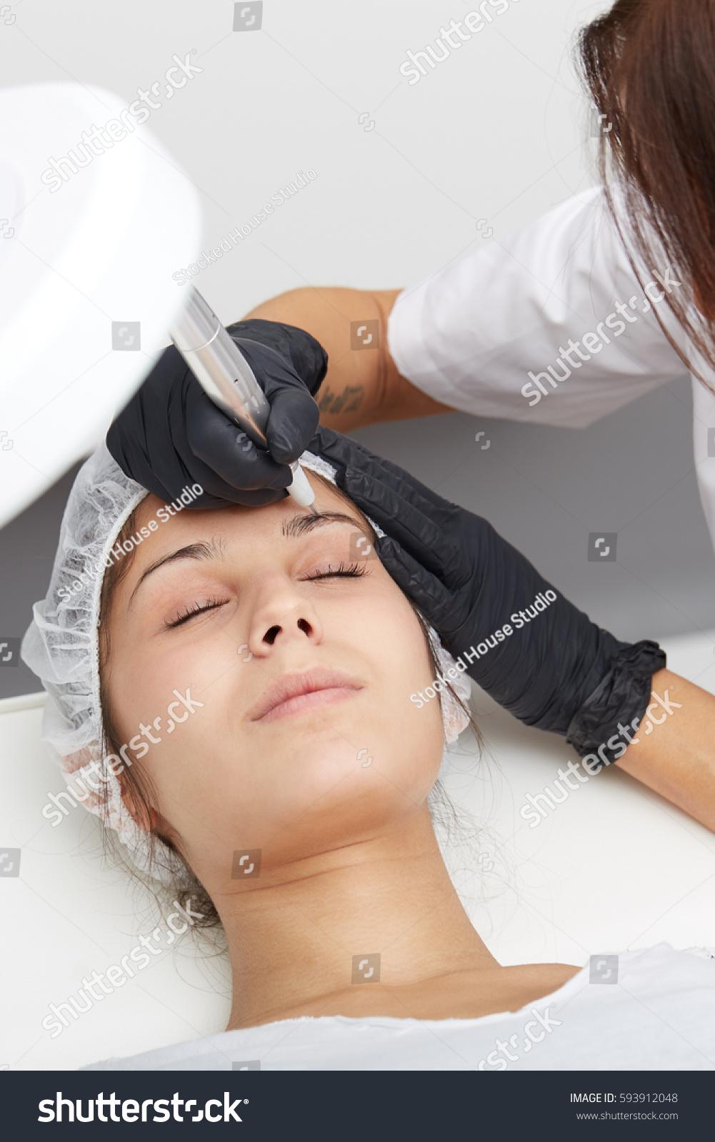 Beautiful Young Lady Getting Tattoo Professional Stock Photo Edit