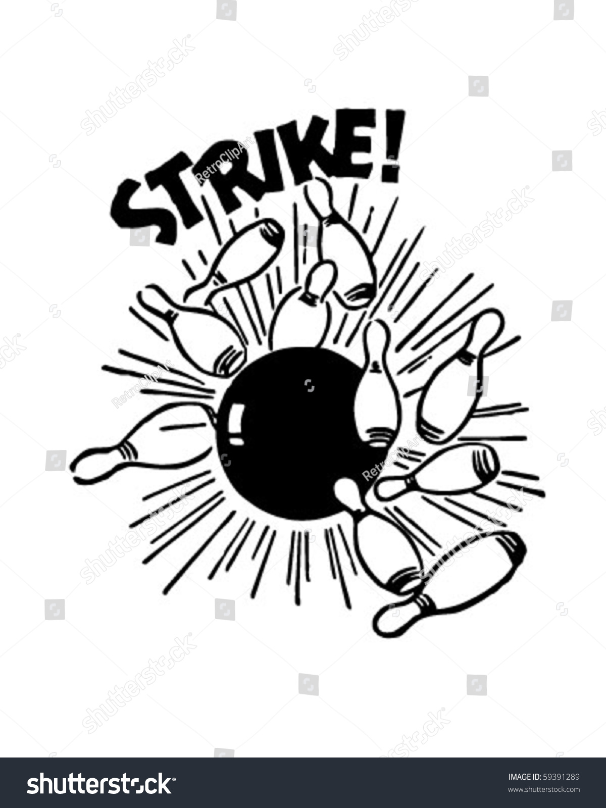 Royalty Free Bowling Strike Clip Art, Vector Images ...  |Bowling Pin Strike Clipart