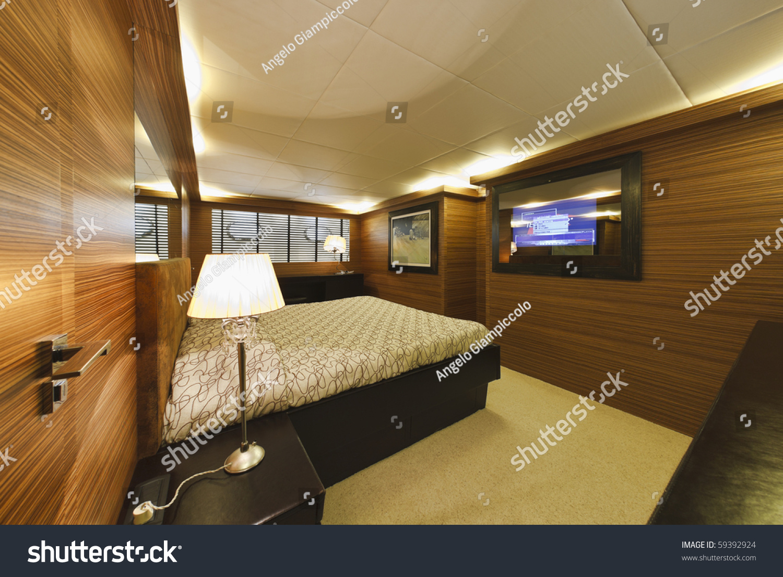 Italy Tuscany Viareggio Tecnomar Velvet 100 39 Luxury Yacht Master Bedroom Stock Photo