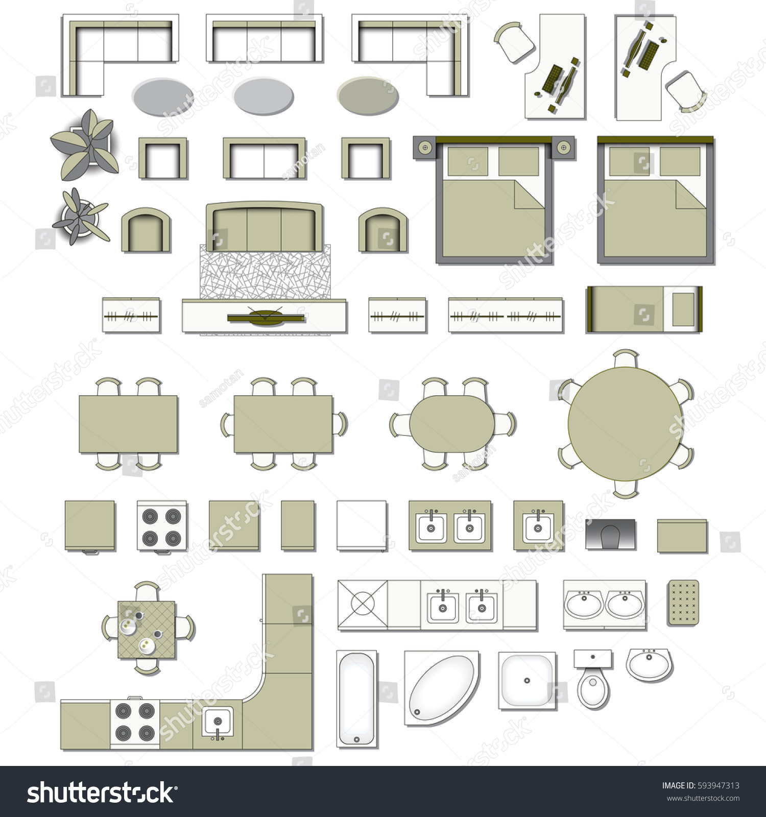 Royalty free set top view for interior icon design for Floor plan furniture store
