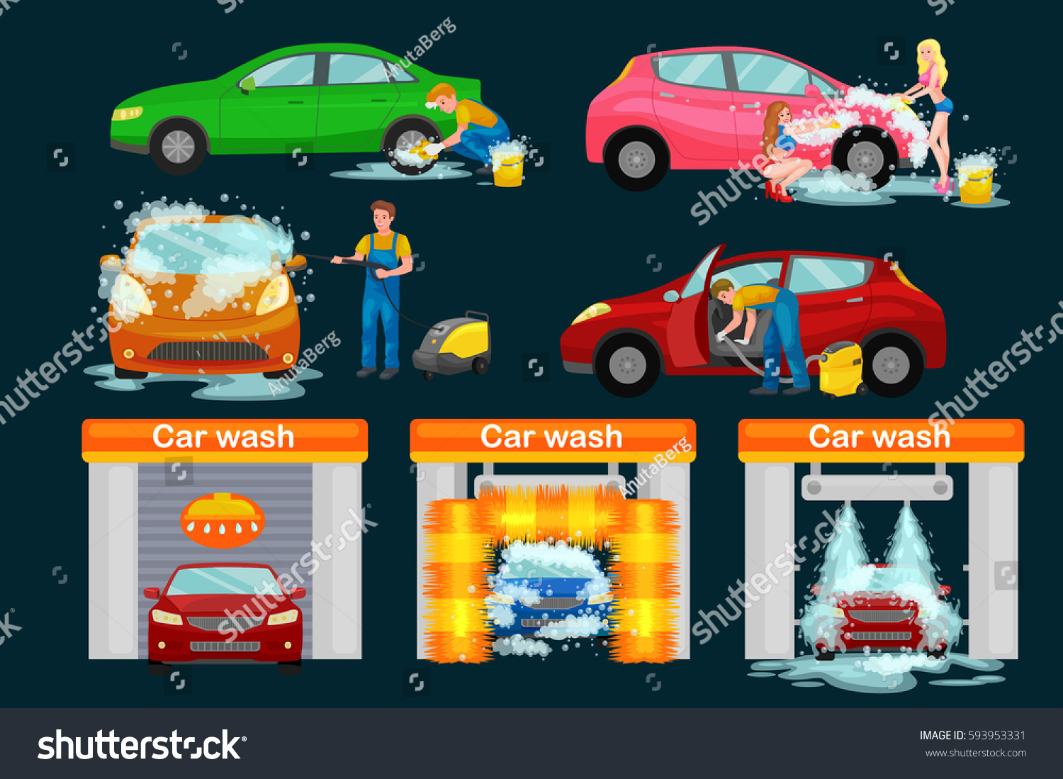 contactless car washing services bikini model stock illustration 593953331 shutterstock. Black Bedroom Furniture Sets. Home Design Ideas