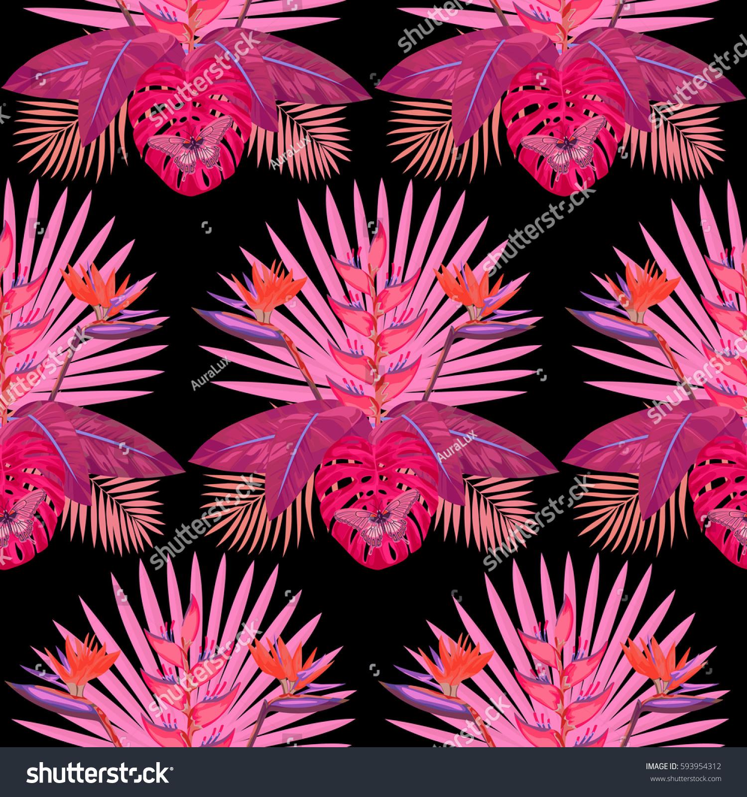 Tropical seamless pattern pink flowers leaves stock vector royalty tropical seamless pattern with pink flowers leaves and butterfly tropic floral wallpaper on black mightylinksfo
