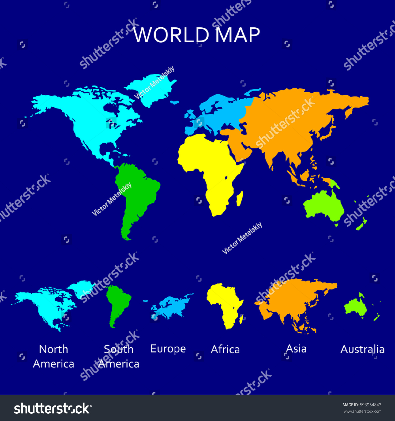 Continent map colorful world map atlas vectores en stock 593954843 continent map colorful world map for atlas design with north america south america gumiabroncs Image collections
