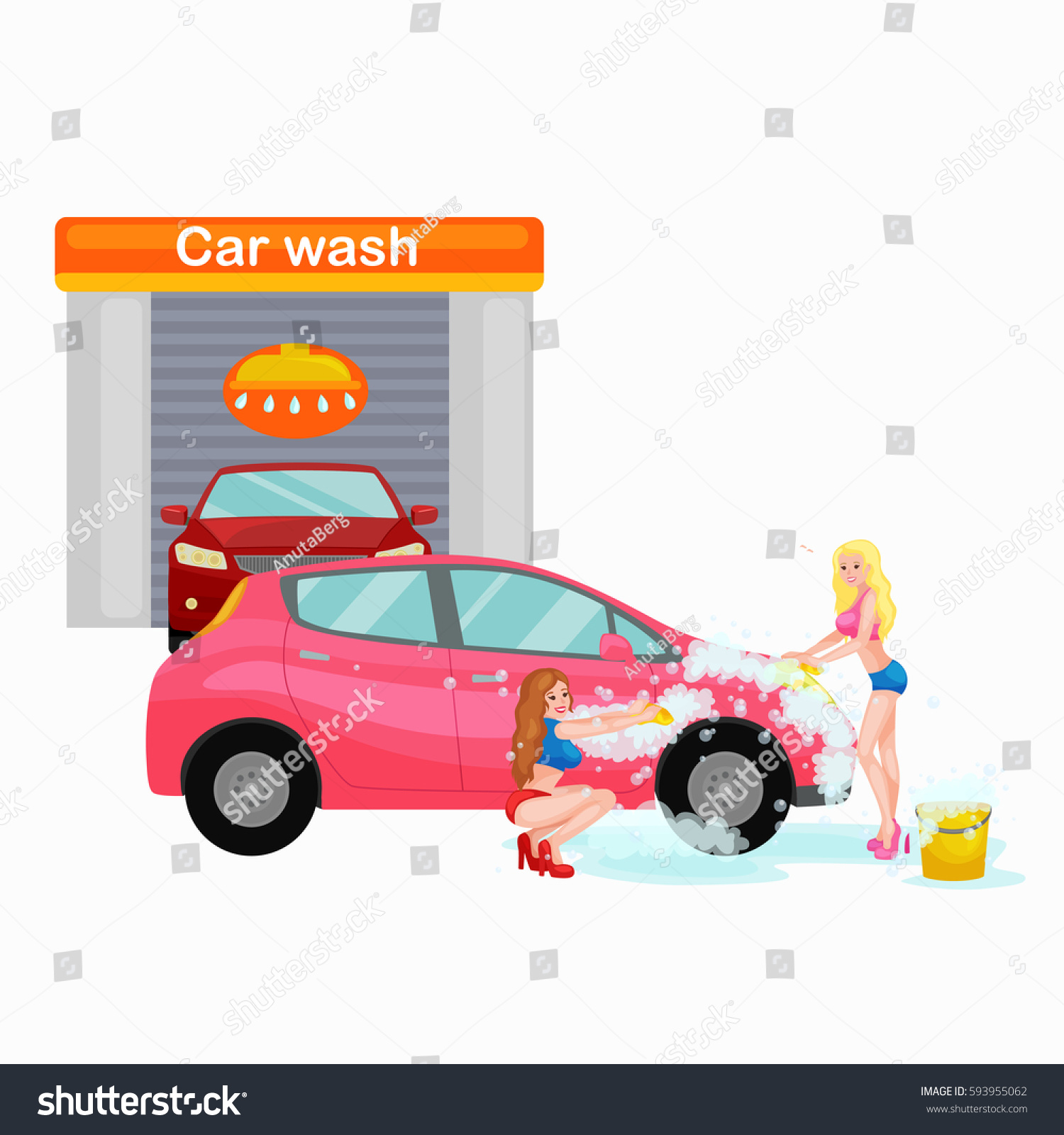car wash services auto cleaning water stock illustration 593955062 shutterstock. Black Bedroom Furniture Sets. Home Design Ideas