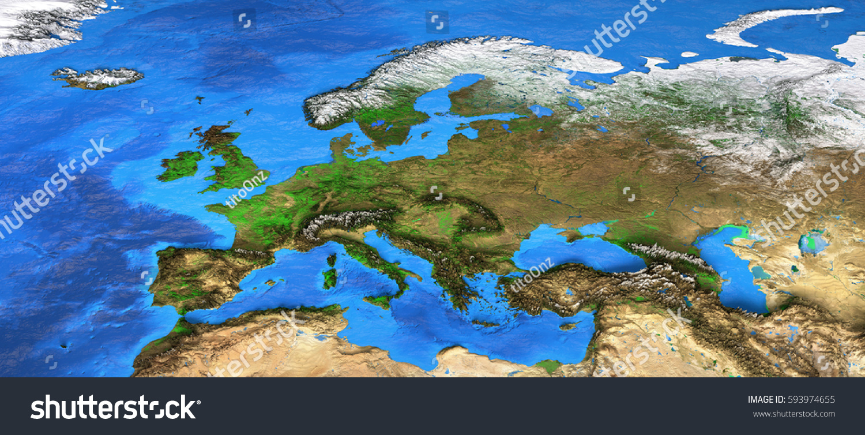 Detailed Satellite View Earth Landforms Europe Stock Illustration