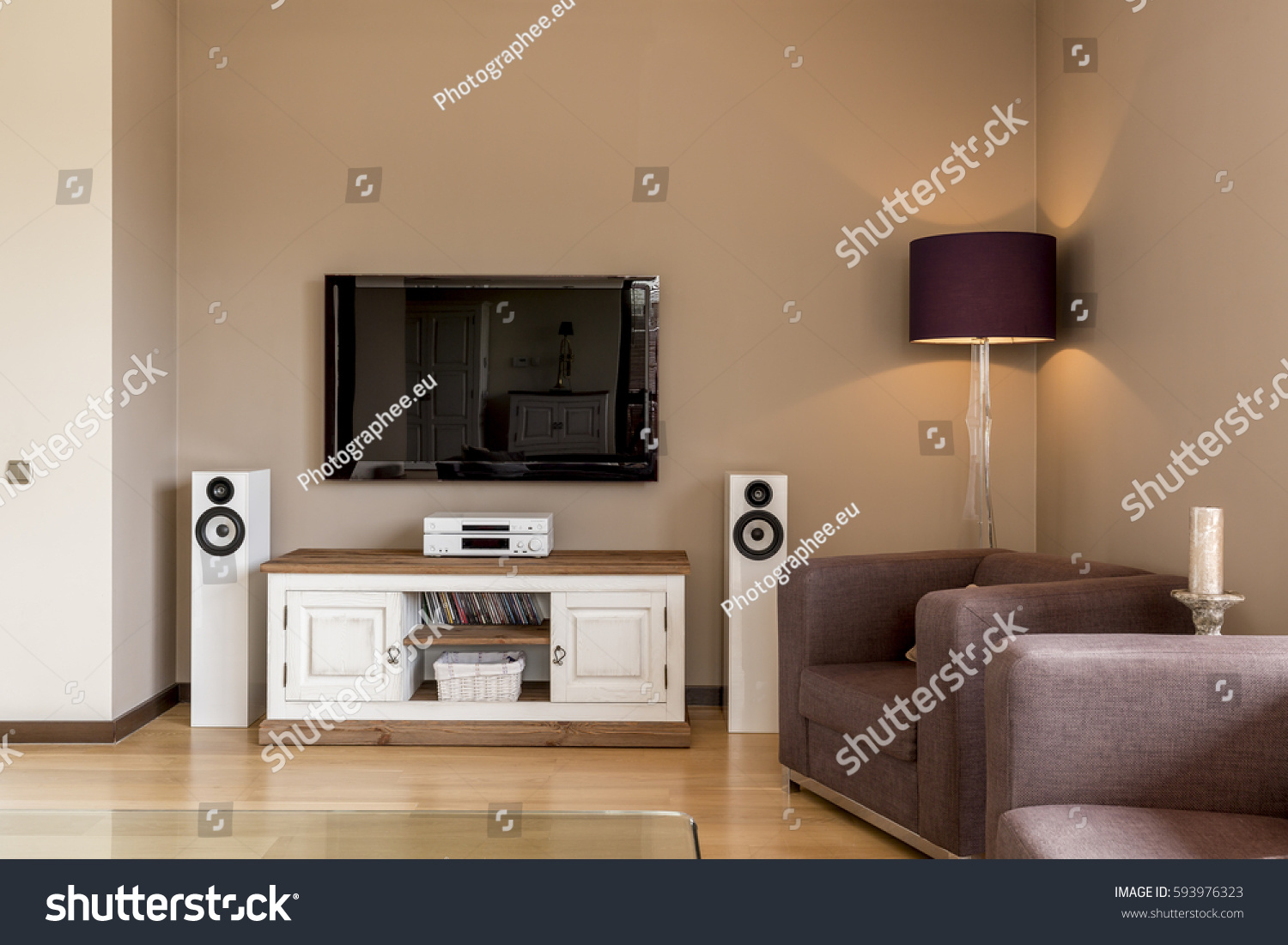 Corner Living Room Armchair Tv Set Stock Photo 593976323  # Commode Tv But