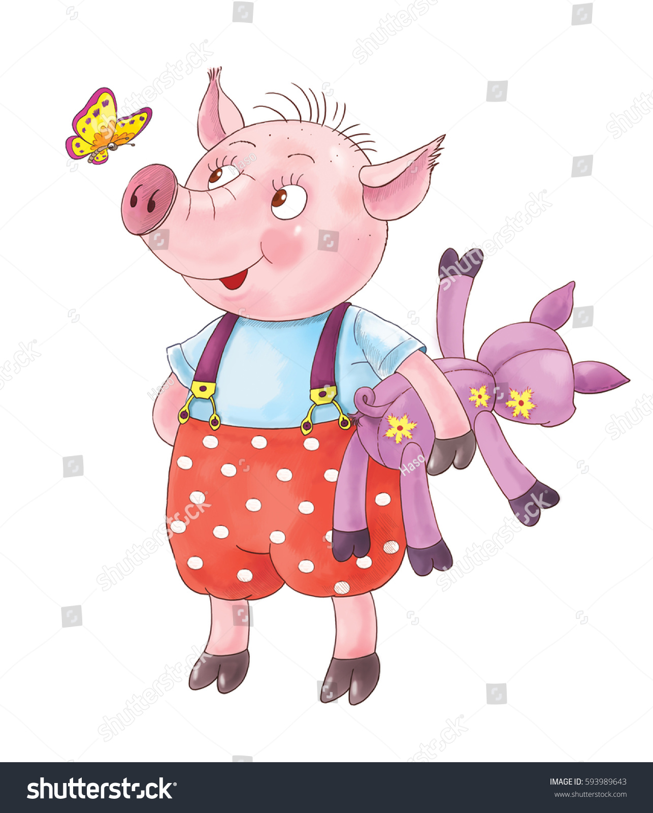 Three Little Pigs Fairy Tale Cute Stock Illustration - Royalty Free ...