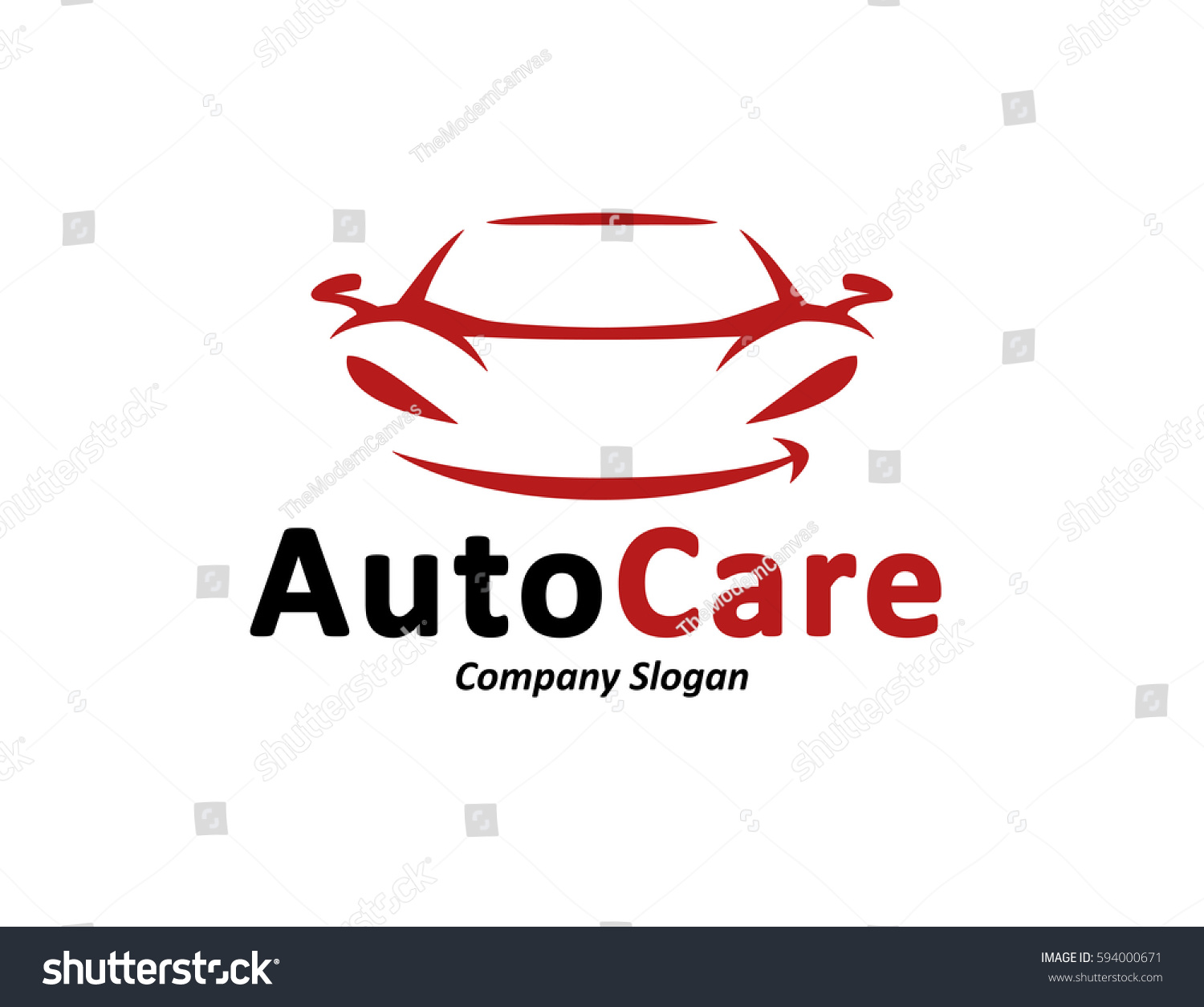 Automotive car care logo design with abstract black and red sports vehicle silhouette icon isolated on white background. Vector illustration. #594000671