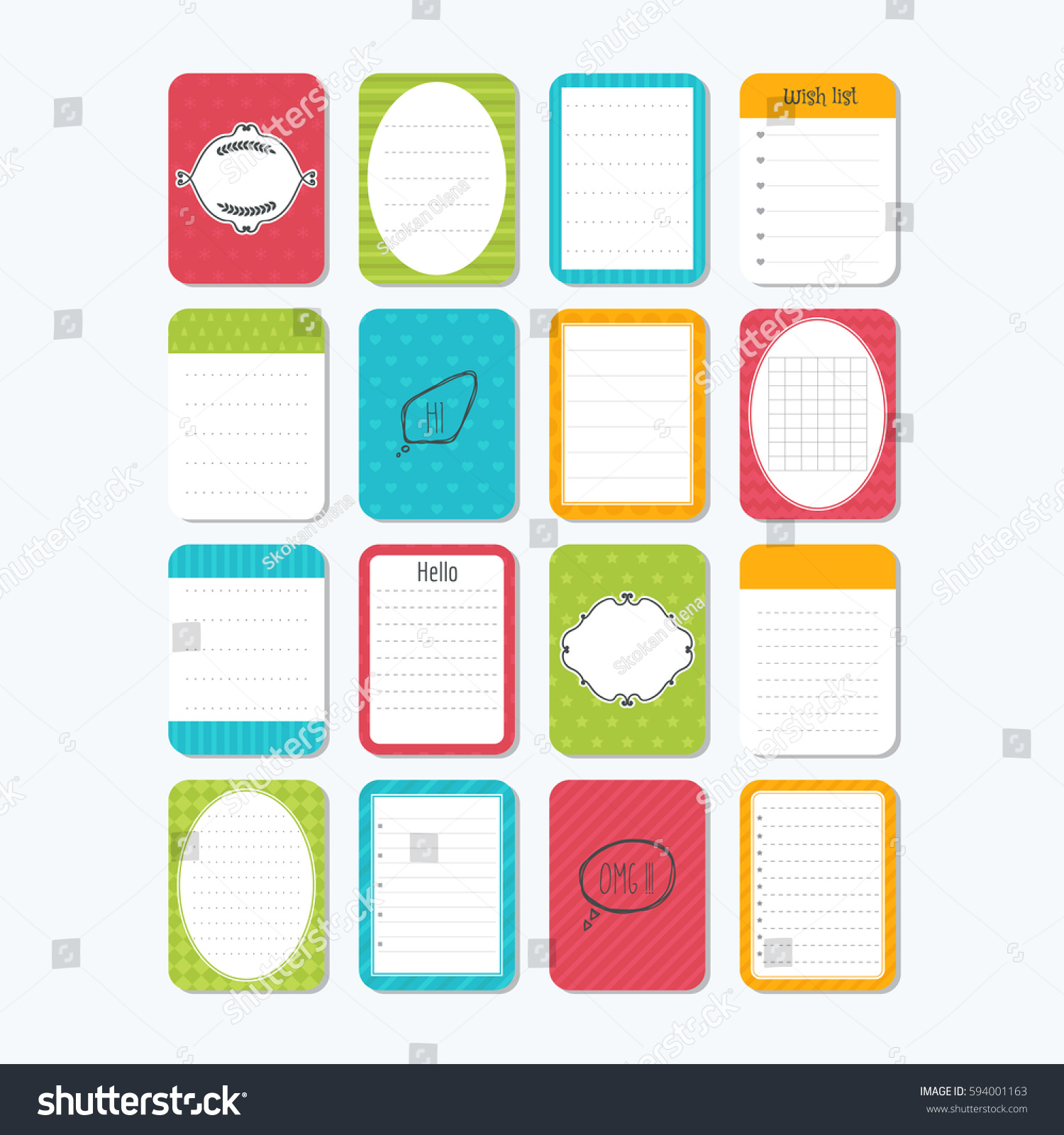 Collection Various Note Papers Template Notepad Stock Vector