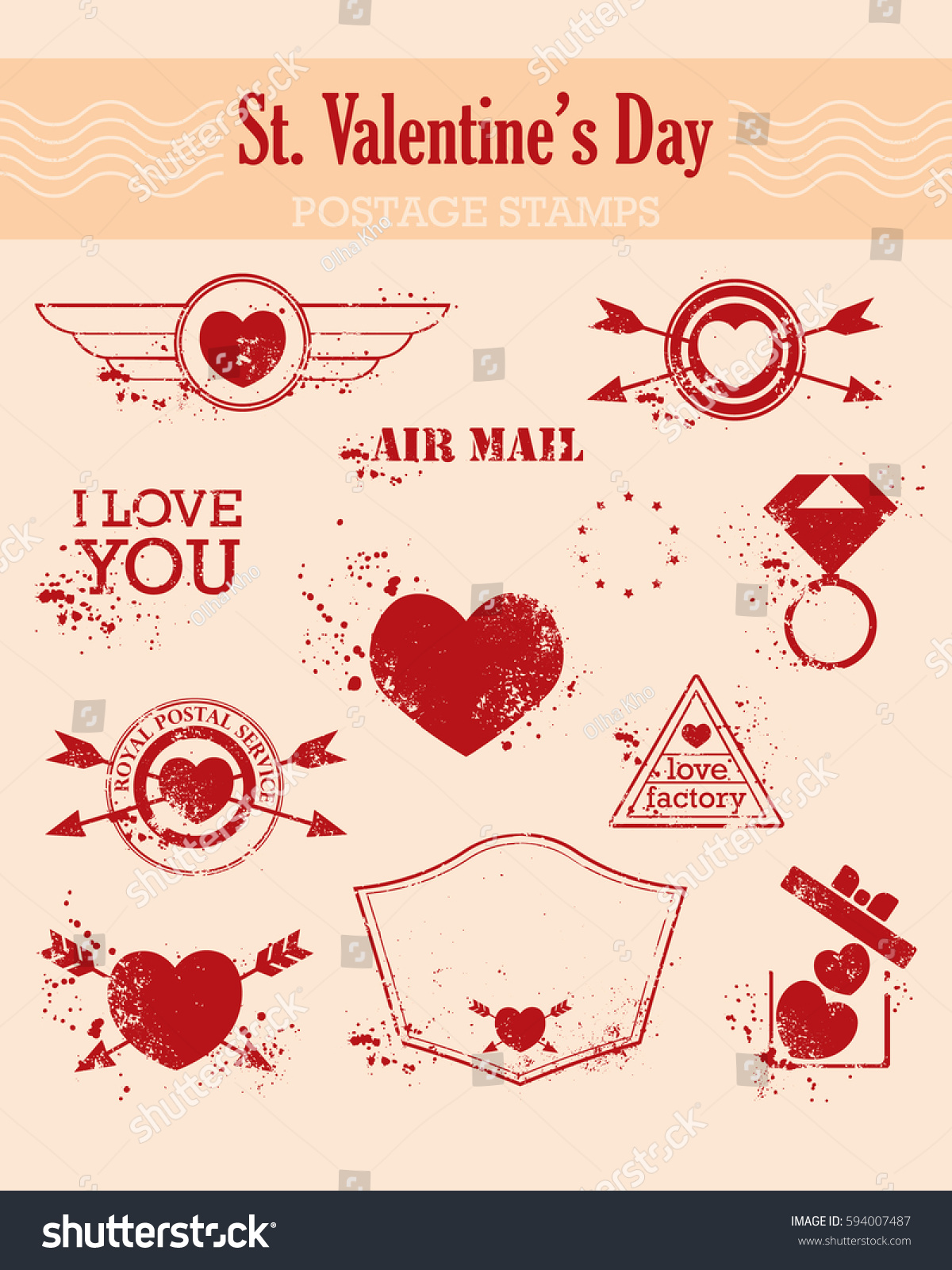 Set St Valentine S Day Postagestamps Vintage Stock Vector (Royalty ...