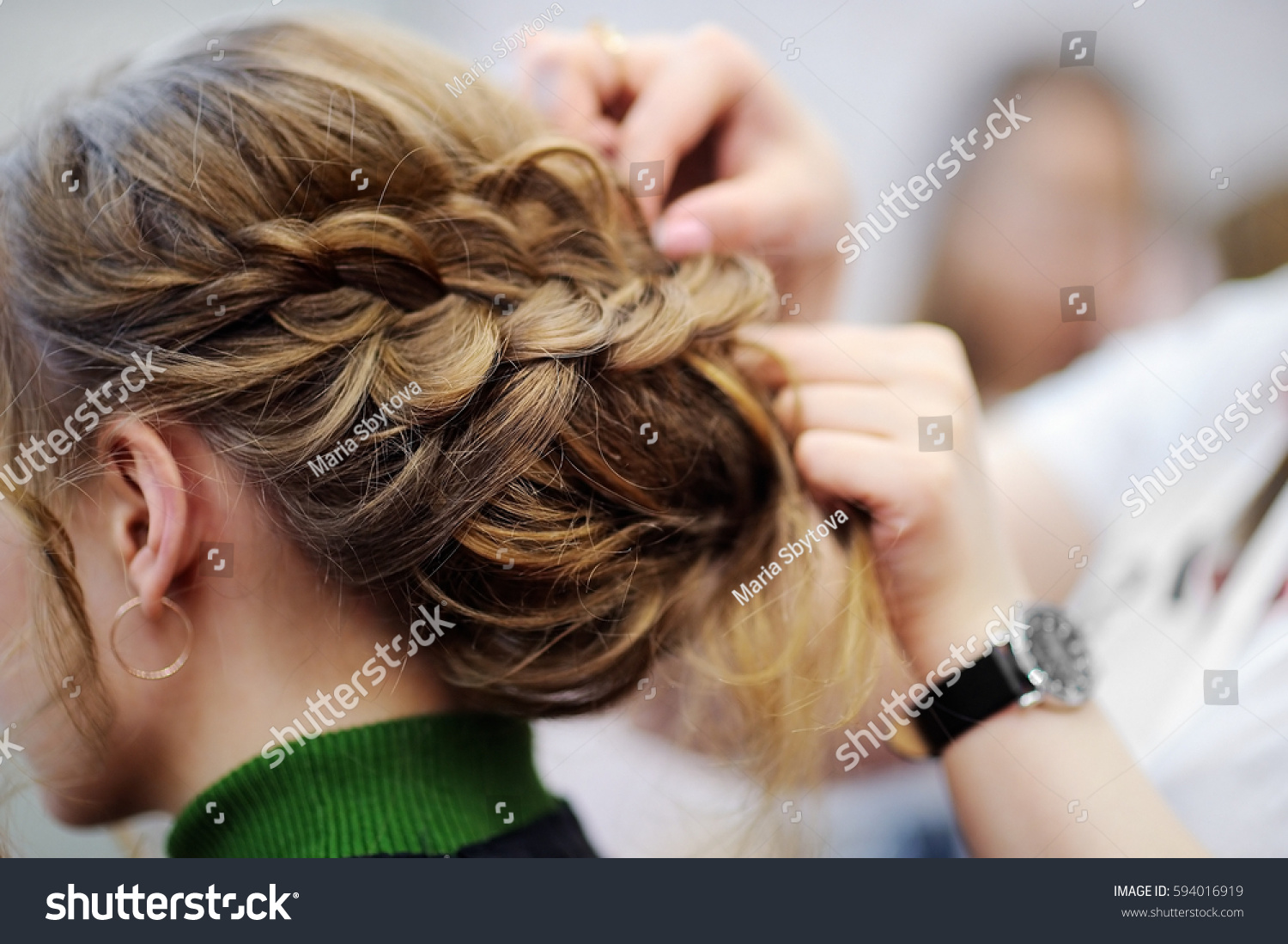 Young Womanbride Getting Her Hair Done Stock Photo 594016919