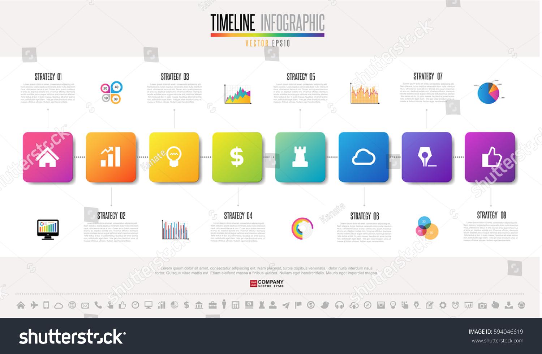 timeline infographics design template icons set stock vector 594046619 shutterstock. Black Bedroom Furniture Sets. Home Design Ideas