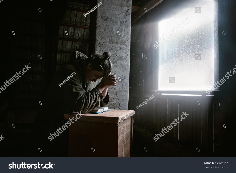 Man Praying God Dark Room Window Stock Photo (Edit Now