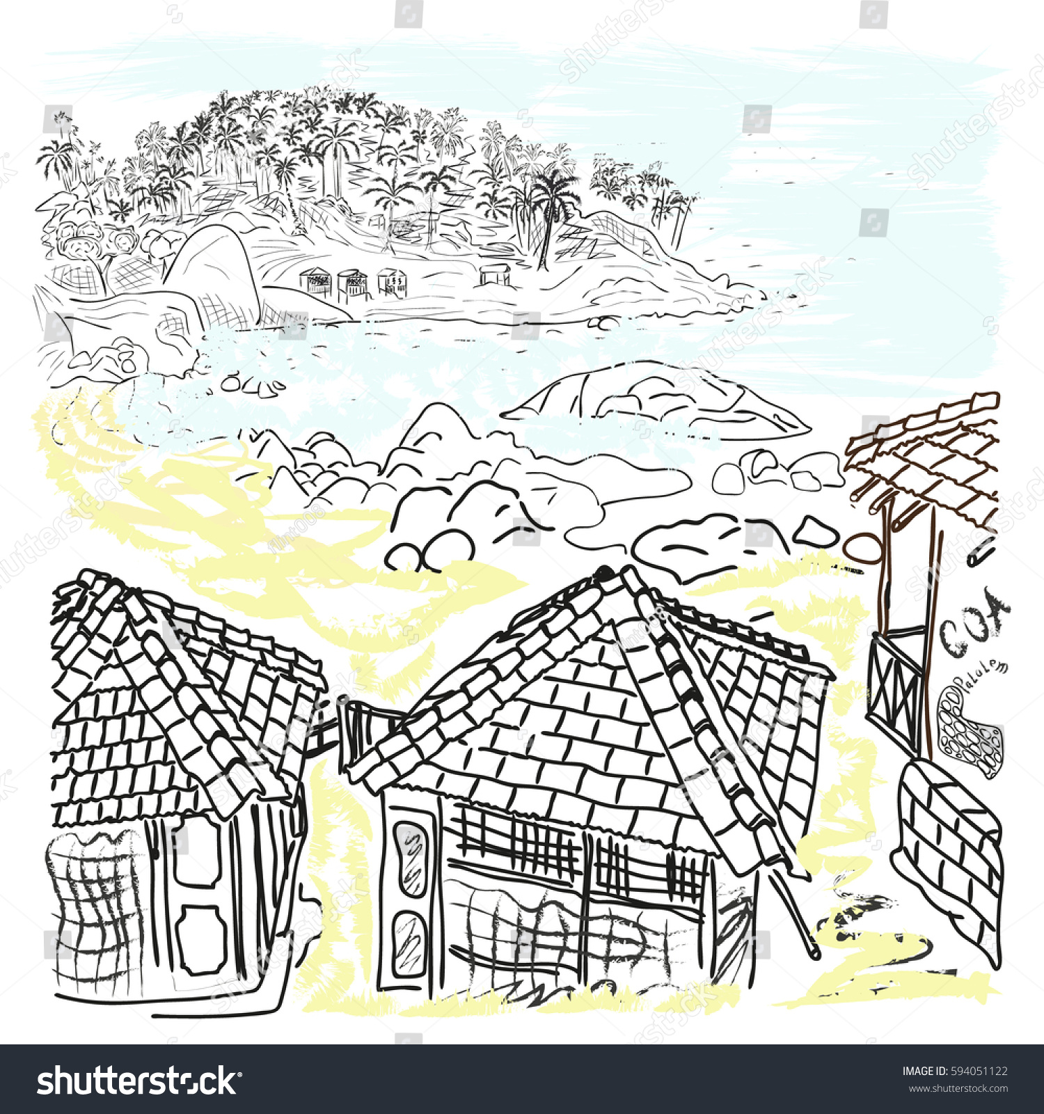 Illustration Of A Sea Beach Goa Bungalows And Palm Trees