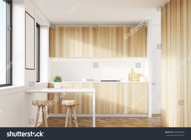 Light Wood Kitchen Interior Table Two Stock Illustration 594064376 ...