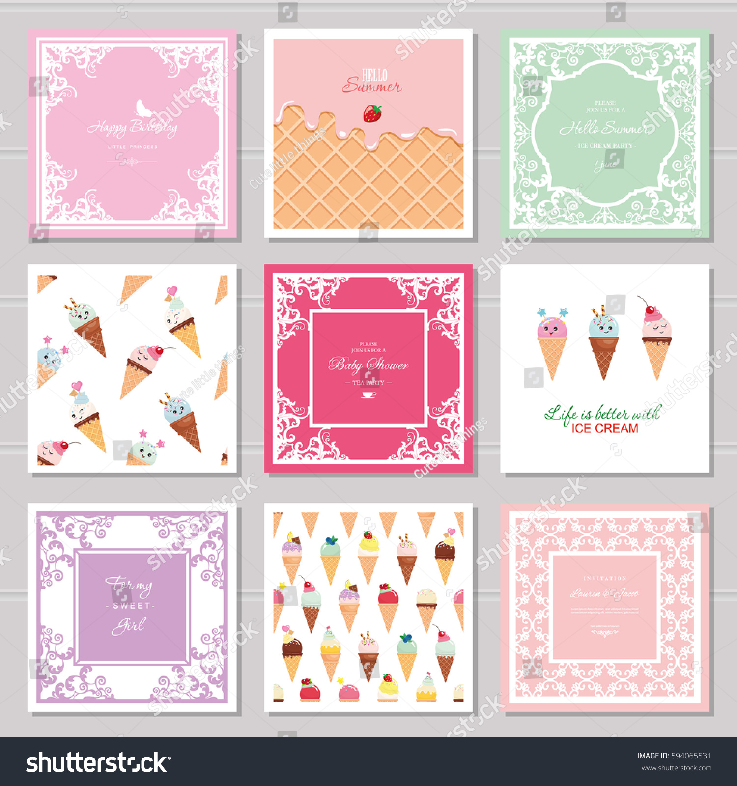 Cute Card Templates Set Girls Including Stock Vector (2018 ...