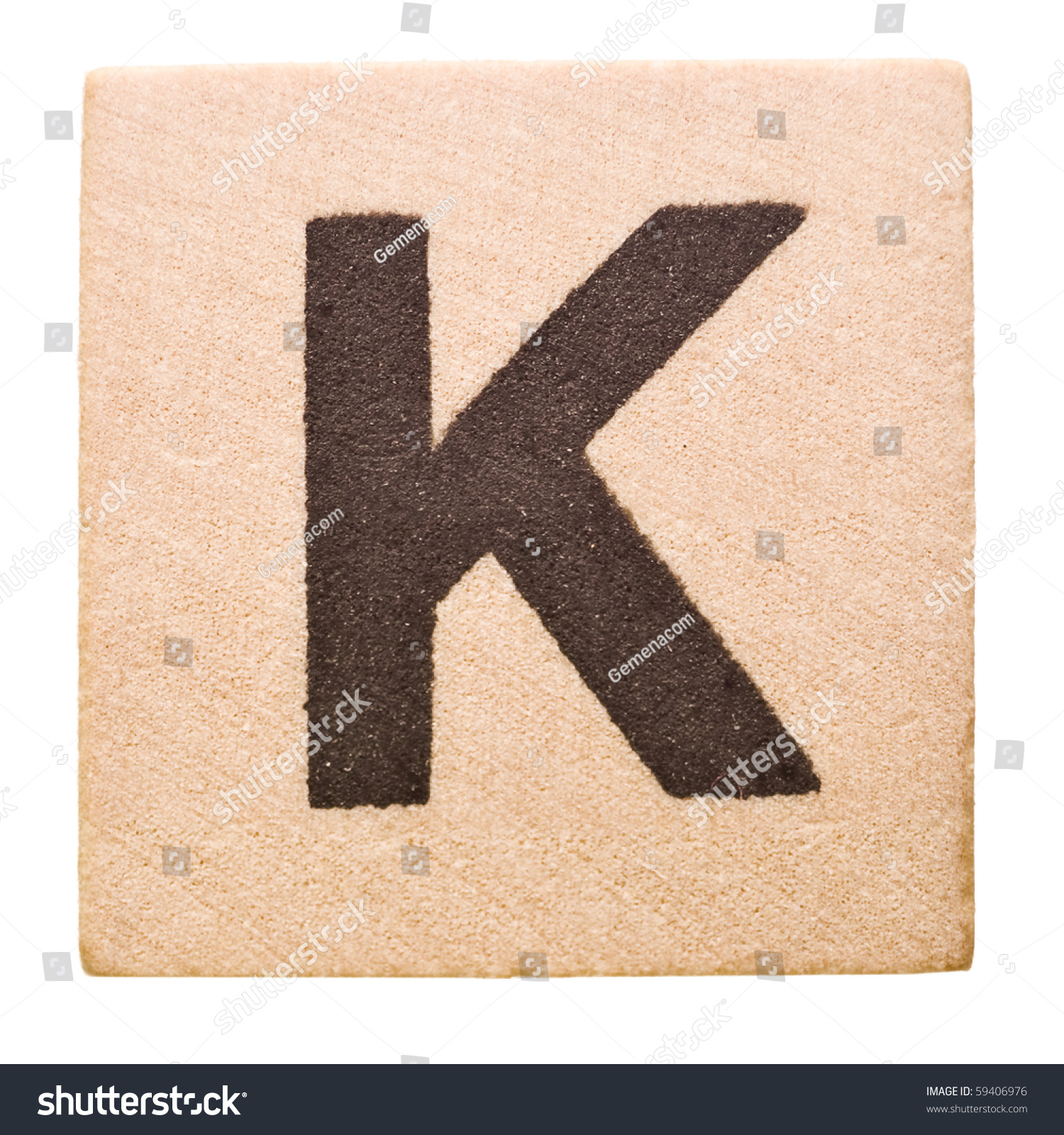 block with letter k isolated on white background