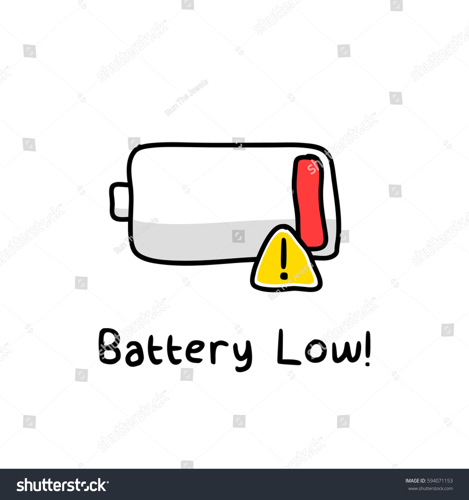 Battery Low Sketch Stock Vector 594071153 - Shutterstock