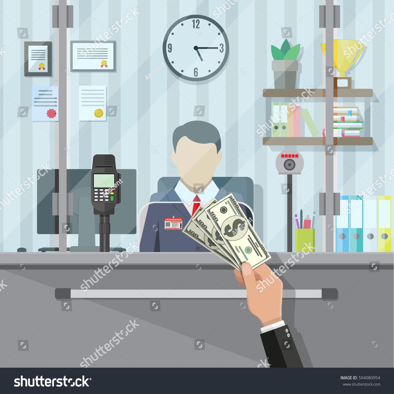bank teller behind window hand cash stock vector 594080954